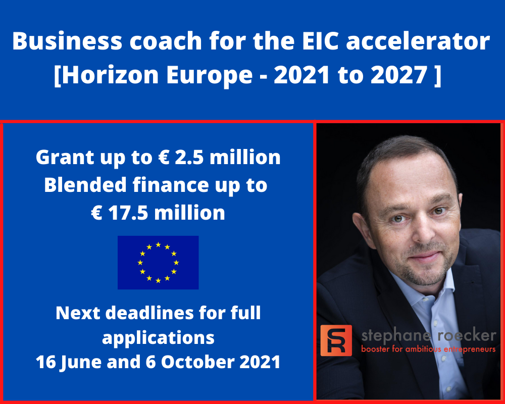 Confirmed as a business coach for the EIC accelerator!